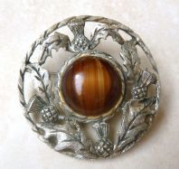 Vintage Large Scottish Style Brooch With Faux Agate Stone.